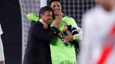 Gallardo y Enzo Pérez festejando el triunfo. Foto: @RiverPlate
