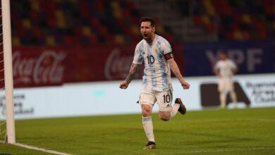 Messi festejando su gol, tras el penal. Foto: @AFA